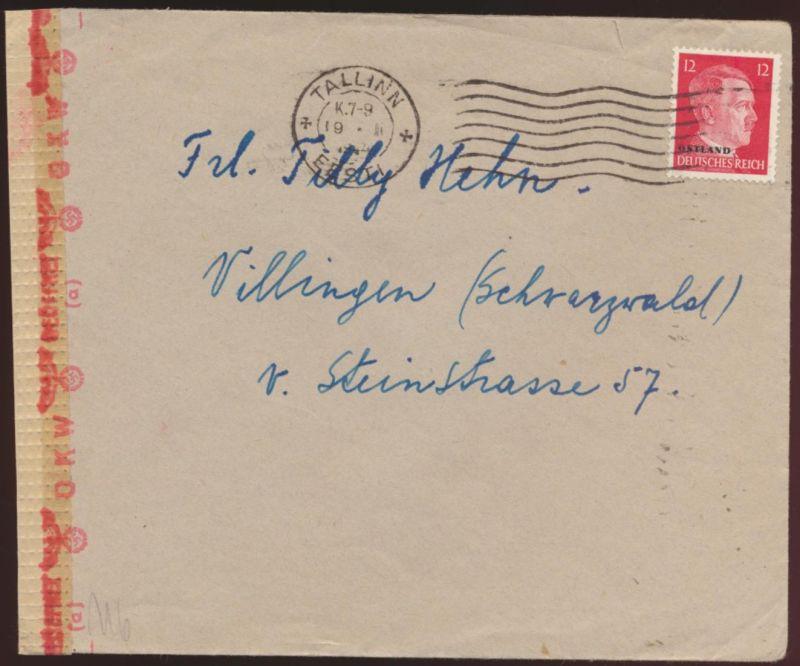 Besetzung Ostland Zensur Brief EF ab Tallinn nach Villingen Schwarzwald 1944