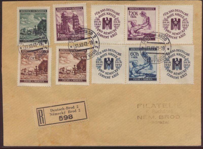 Besetzung Böhmen & Mähren R Brief 62-3 75-8 Zusammendruck Deutsch Brod Havlíčkův