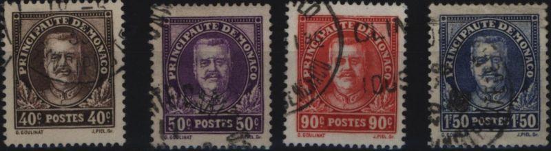 Monaco 116-119 Fürst Louis II. komplett 40 C bis 1,50 Fr 1933 gestempelt