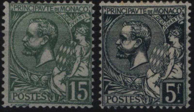 Monaco 49-50 Freimarken Fürst Albert I. 1921 komplett sauber ungebraucht *