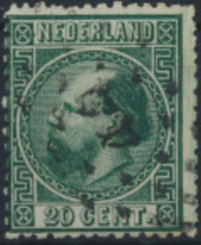 Niederlande 10 II  gestempelt  Freimarke König Willem III.  .