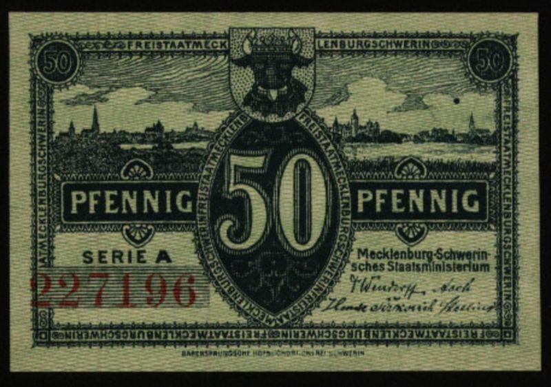 Geldschein Banknote Notgeld Mecklenburg-Schwerin 9 d. 50 Pfg. 1.5.1922 - I.