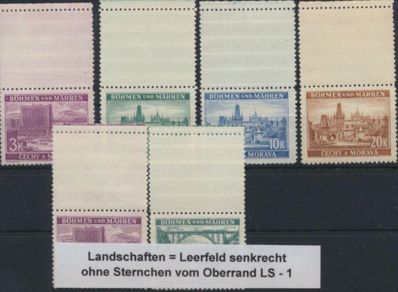 Böhmen und Mähren 33-37 LS u.a postfrisch - 6 Werte Landschaften Leerfeld senkr.