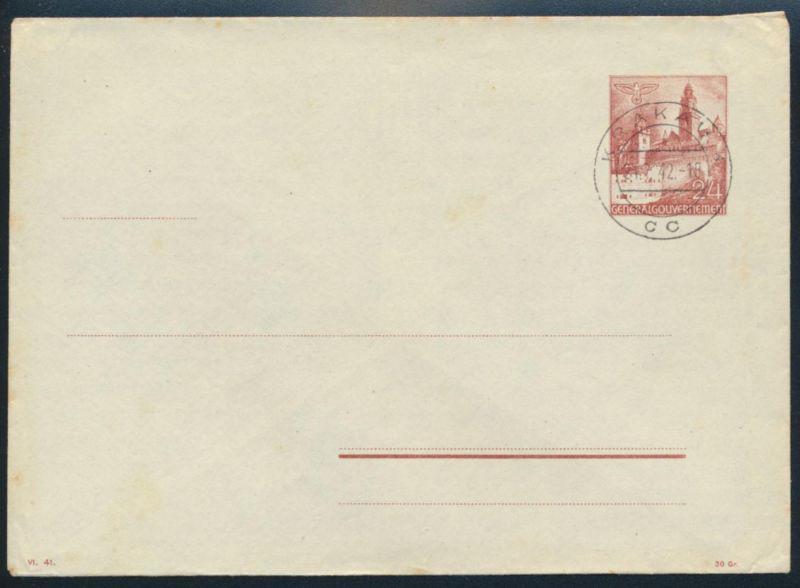 Generalgouvernement Ganzsache Umschlag U 2 a ungebraucht mit Stempel Krakau