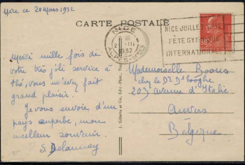 Frankreich Sport 1932 Werbestempel Nizza Turn - Gymnastikfest auf Ansichtskarte