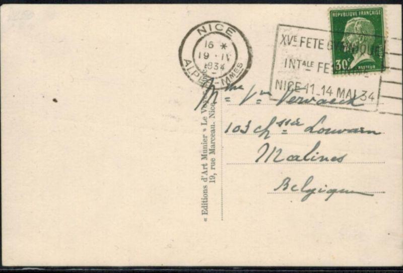 Frankreich Sport 1934 inter. Sonder-Werbestempel 15. Turn - Gymnastikfest Nizza