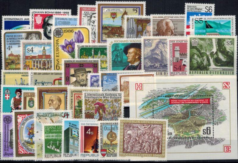 Österreich 1836-72 Jahrgang 1986 kpl. Luxus postfrisch mit Block 8 Kat. 31,20