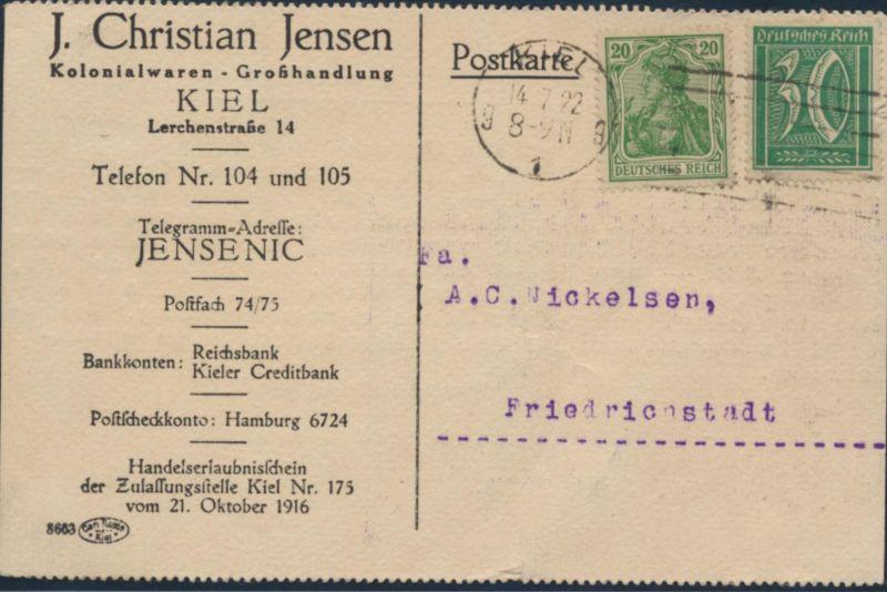D.Reich Brief Postkarte 143+162 Kiel Friedrichstadt Reklame Jensen Kolnialwaren