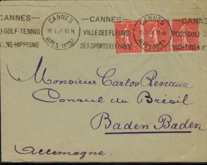 Frankreich Brief 1927 interessanter Sonder-Werbestempel Cannes