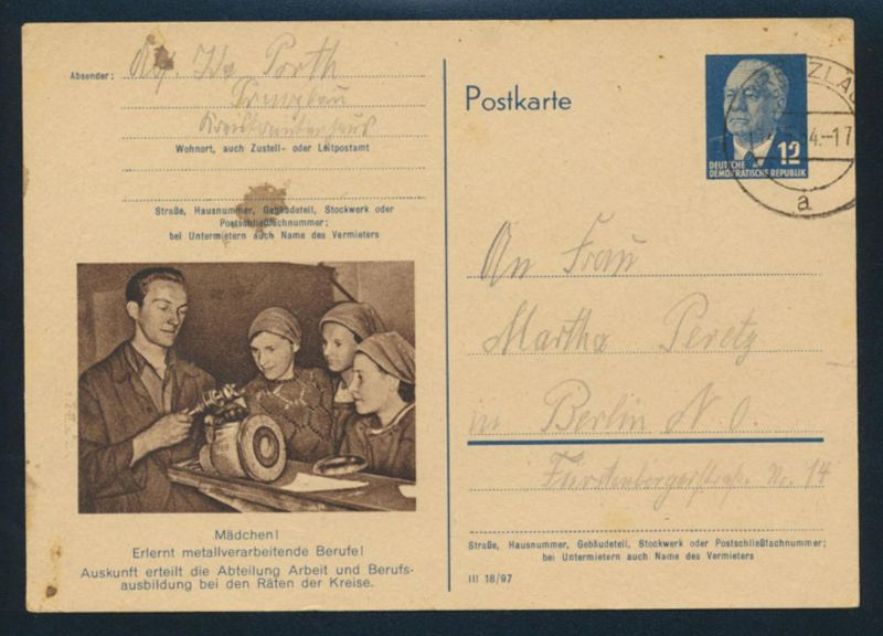 DDR Brief Ganzsache P 56 04 Metallverarbeitung WST 12 Pfg Pieck Prenzlau Berlin