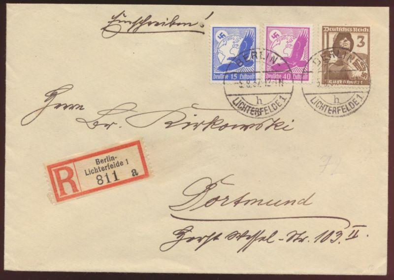 Flugpost Brief air mail RBrief Berlin Lichterfelde Dortmund Oberschlema Vignette