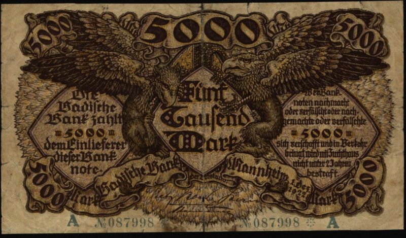 Geldschein Banknote Notgeld Baden 8 b  5000 Mark Mannheim 1.12.922 IV.