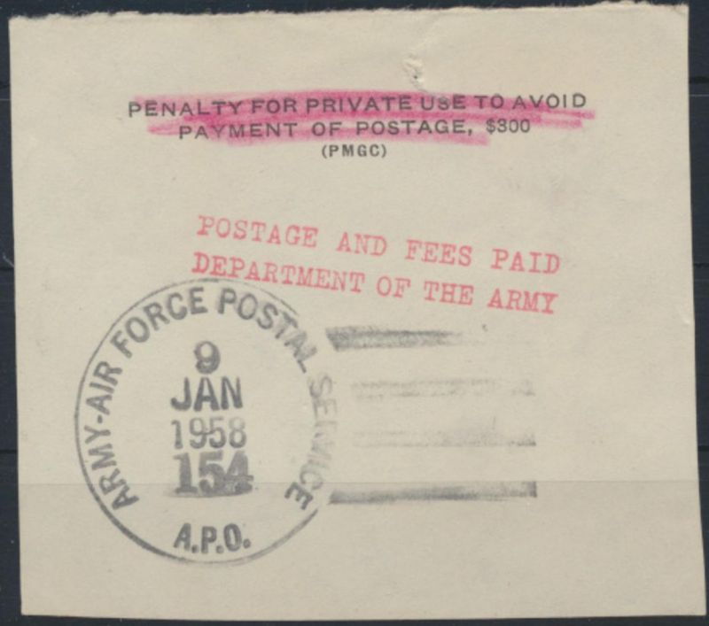 Air Force Postal Service Postage Fees Paid 9.1.1958 Briefstück