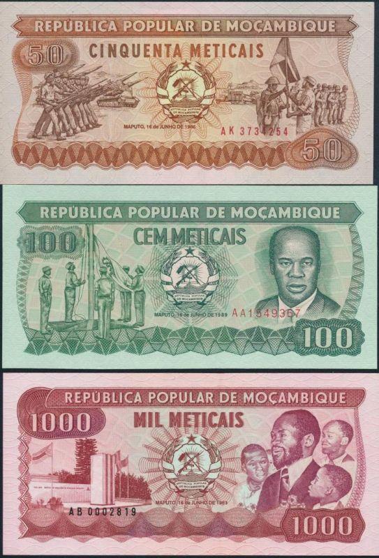 3 Geldscheine Banknoten Mosambik 50-1000 Meticais ex. P-129-132 bankfrisch UNC