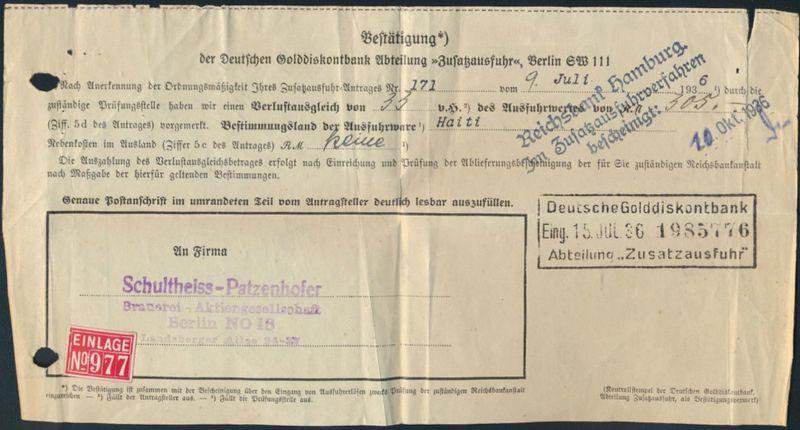 Zeitdokument Golddiskontbank Zusatzausfuhr nach Haiti 1936 Brauerei Schultheiss-