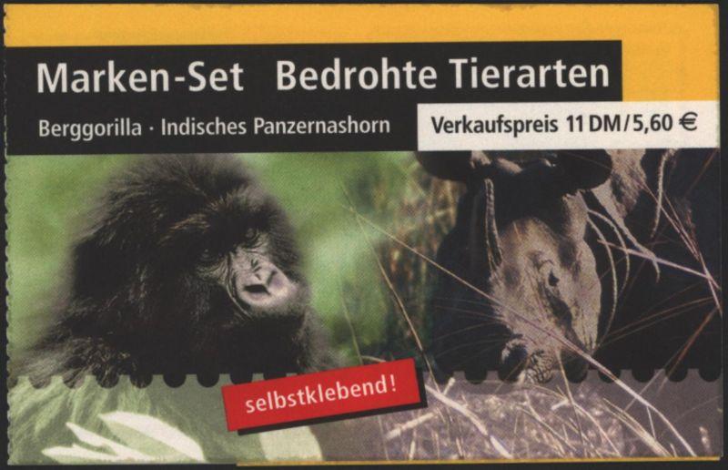 Bund Markenheftchen MH 44 I Bedrohte Tierarten 2001 Ersttagsstempel FRANKFURT