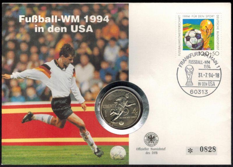 Bundesrepublik Numisbrief Fußball WM in den USA 1994 mit 1/2$-Münze