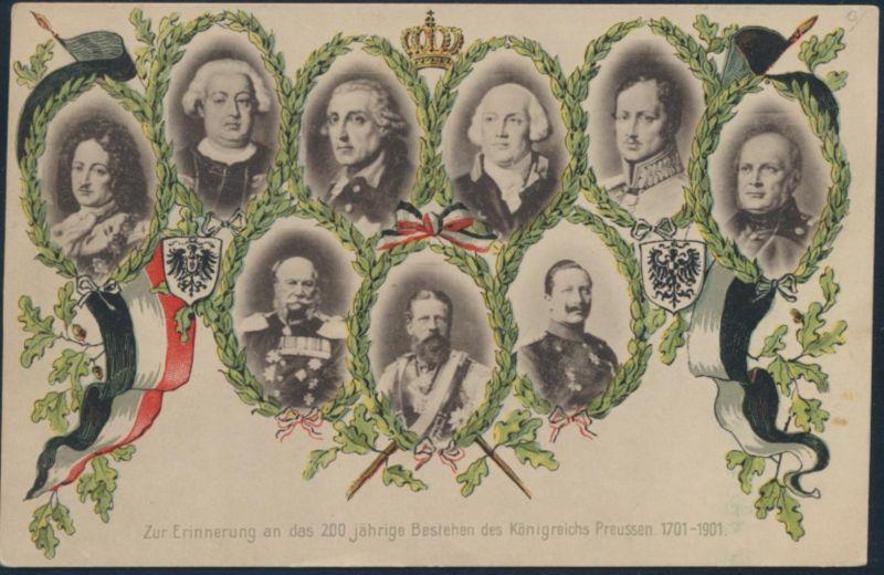 Ansichtskarte 200 Jahre Preußen 1701-1901 Adelsbilder
