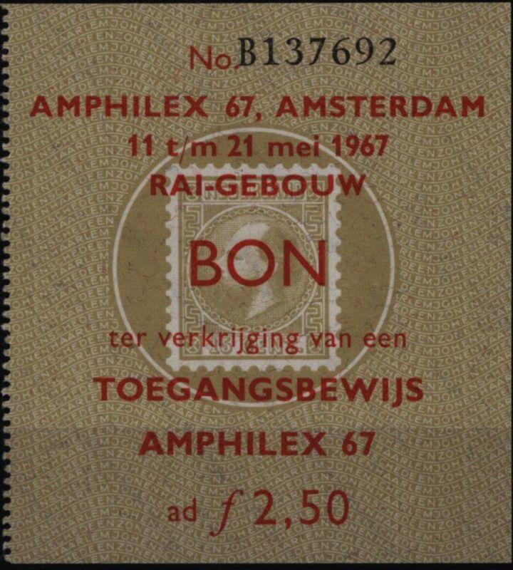 Niederlande Ticket Eintrittskarte Amphilex  Briefmarkenausstellung 11-21.5.1967
