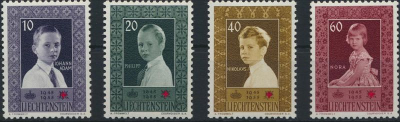 Liechtenstein 338-341 Rotes Kreuz Ausgabe 1955 tadellos postfrisch