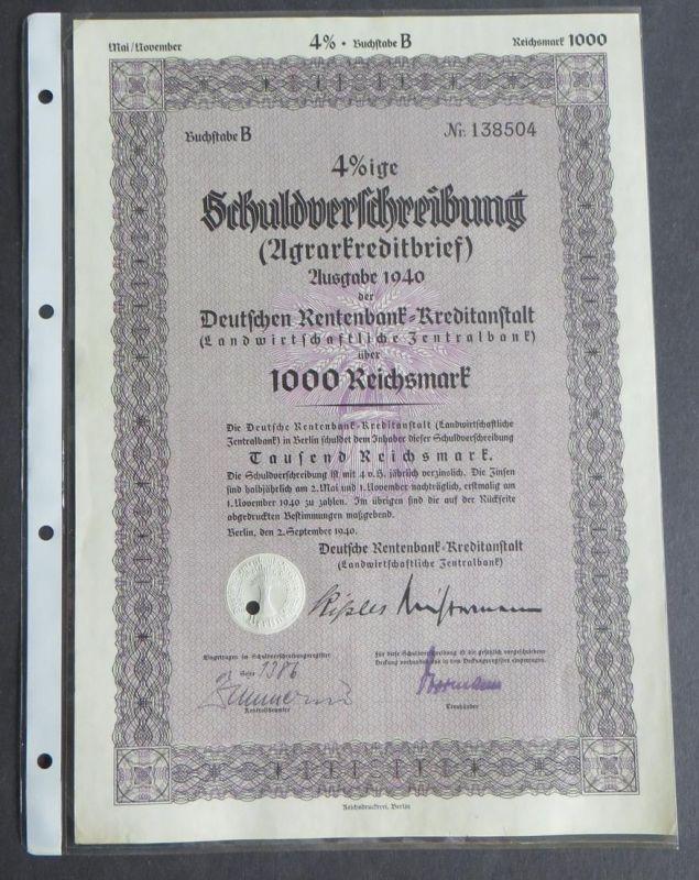 Aktie Pfandbrief Schuldverschreibung Rentenbank Landwirtschaftliche Berlin 1000