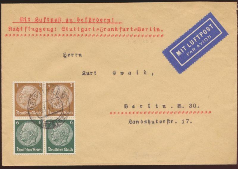 Flugpost Reich Zusammendruck Nachtflugzeug Stuttgart Frankfurt Berlin Geislingen