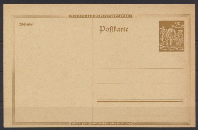 Deutsches Reich Privatganzsache PP 66 25 Mark Landarbeiter Postscheckkonto