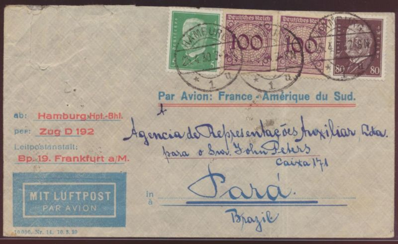 Flugpost air mail letter Bahnpost Hamburg Zug D 192 Hamburg Para Brasilia