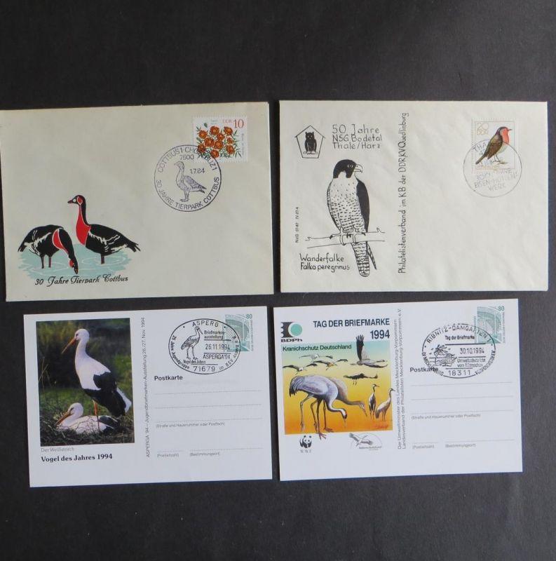 Briefe und Karten Sammlung Motiv Vögel 4 Stück Bund und DDR