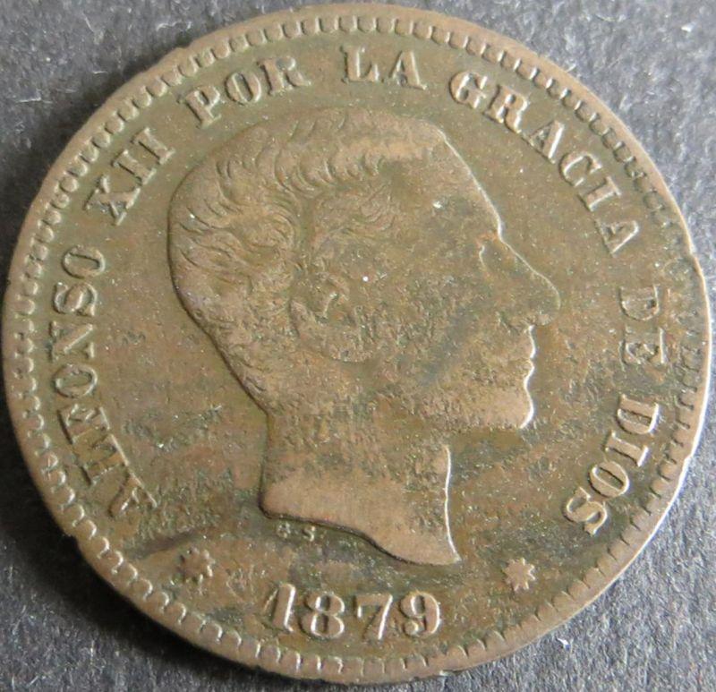 Münze Spanien Alfonso XII 5 Centimos 1879 ss Schön: 161