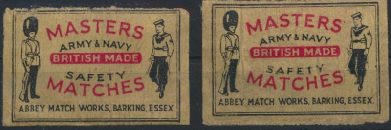 Großbritannien 2 Werbemarken Masters Army&Navy British Made Safety Matches
