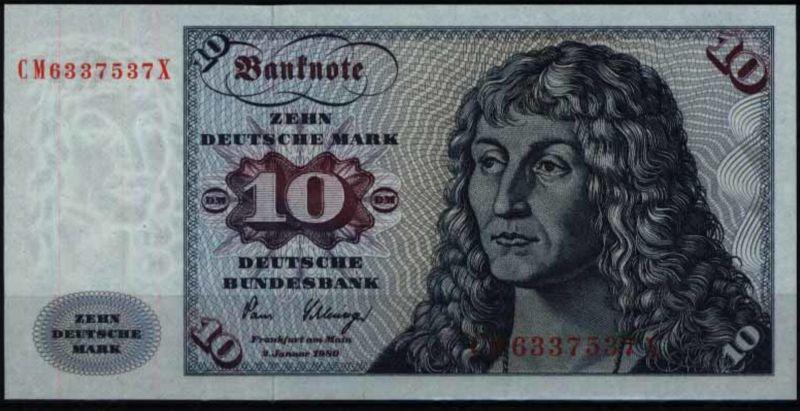 Bundesrepublik Geldschein Banknote 286 a CM X 10 Deutsche Mark 2.1.1980 - I.