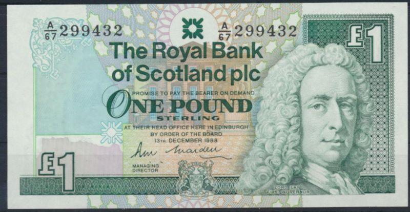Banknote Geldschein Schottland 1 Pfund 1988 P351a UNC