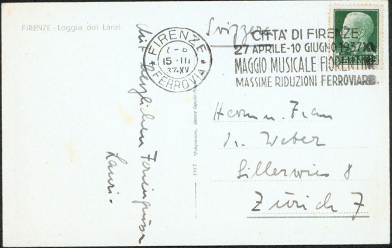 Italien 1937 Musik selt. Werbestempel zum Thema auf Ansichtskarte