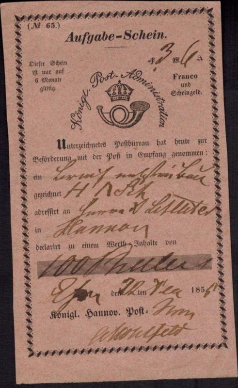 Brief Post - Aufgabeschein Hannover in rot, gute Erhaltung