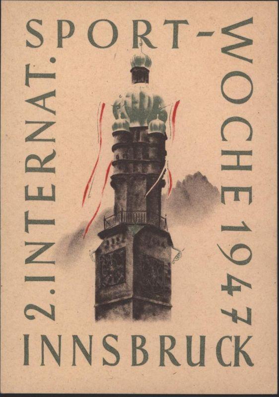Ansichtskarte Österreich Sport 1947 2. Internationale Sportwoche Innsbruck