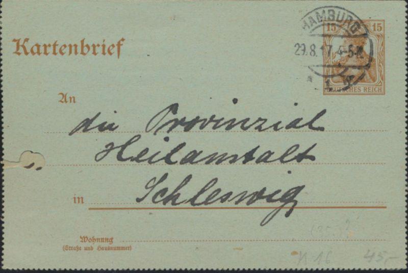 Deutsches Reich Ganzsache Kartenbrief  K 16 Hamburg nach Schleswig 29.8.1917
