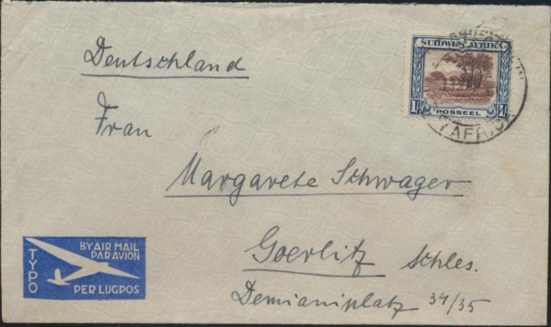 Brief Südwestafrika Namibia Luftpost 153 nach Görlitz