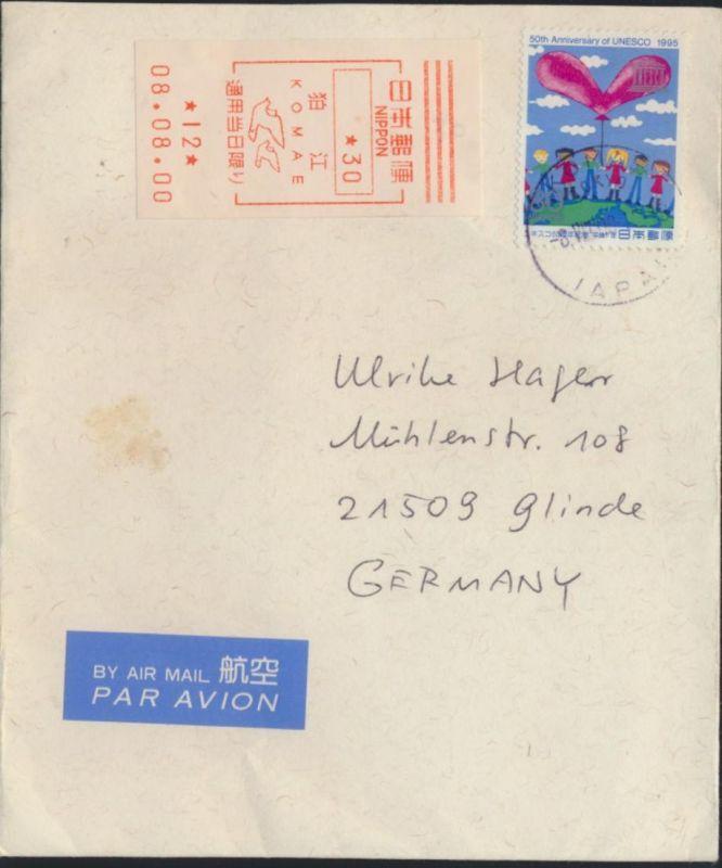 Brief Japan Luftpost EF 2350 + Label Komae nach Glinde Motiv Vögel Taube Kinder