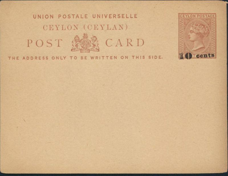 Sri Lanka Ceylon Ganzsache Queen Victoria P 13 Aufdruck 10 a. 8 cent