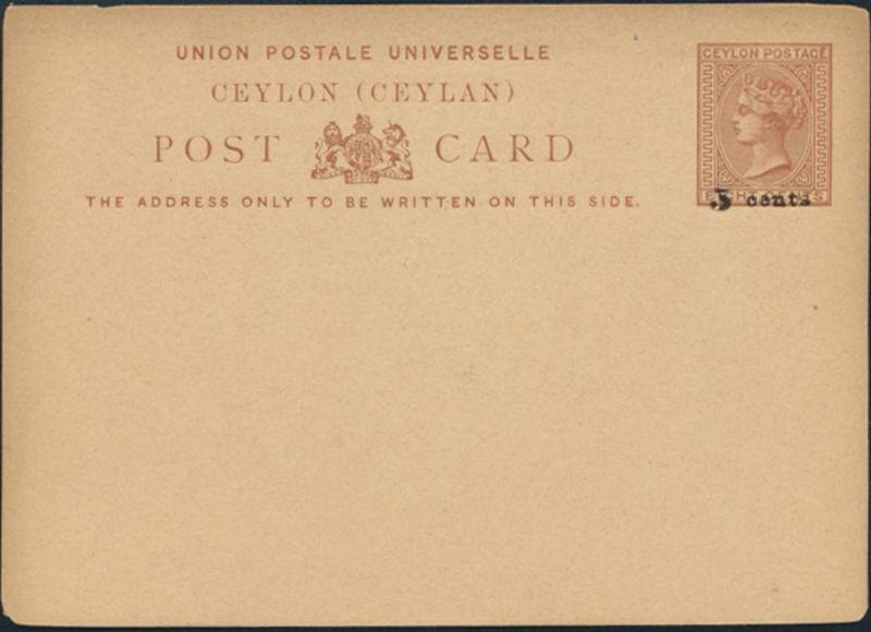 Sri Lanka Ceylon Ganzsache Queen Victoria P 10 Aufdruck 5 a. 8 cent