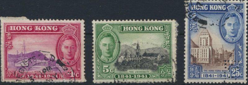 Hongkong 100 Jahre britische Kolonie gestempelt 1941  MiNr. ex 164-167
