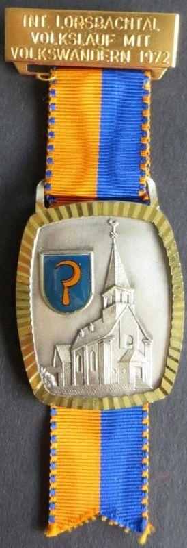 Medaille Internationaler Lorsbachtal Volkslauf mit Volkswandern 1972