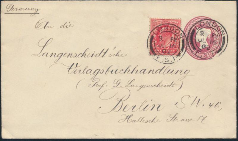 Großbritannien Ganzsache 2p Victoria + ZuF schön gest. London Berlin 16.7.1902