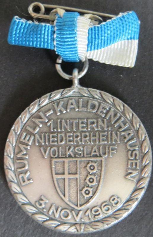 Medaille 1. Internationaler Niederrhein Volkslauf 1968 Rumeln Kaldenhausen