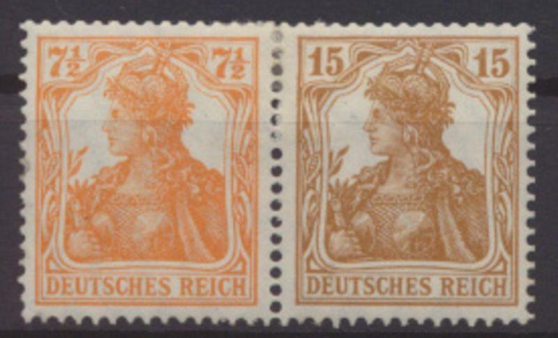 Deutsches Reich Zusammendruck Germania W 10 ungebraucht Kat.-Wert 300,00