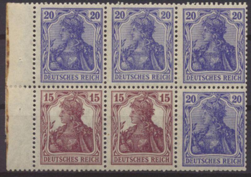 D Reich Zusammendruck Germania Heftchenblatt 25 A ungebraucht Kat.-Wert 30,00