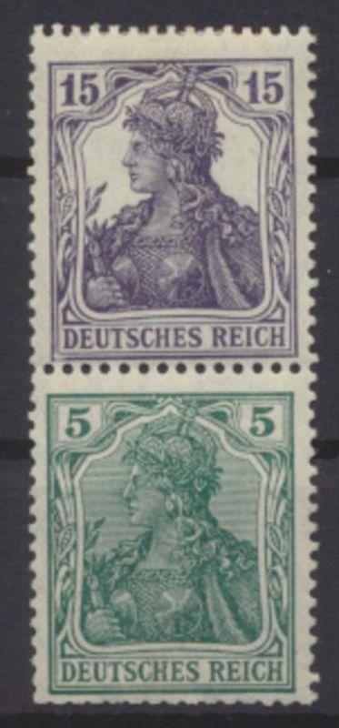 Deutsches Reich Zusammendruck Germania S 6 ungebraucht Kat.-Wert 150,00