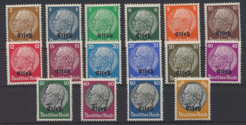 Deutsche Besetzung Elsass 2. Weltkrieg 1-16 Luxus postfrisch MNH Kat.Wert 50,00
