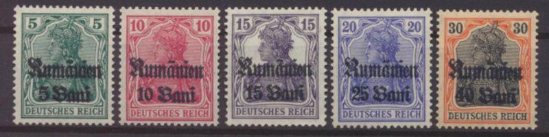 Besetzung Rumänien Landespost 8-12 postfrisch Kat.-Wert 8,00